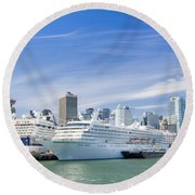 Round Beach Towel featuring the photograph Vancouver Cruise Ships by Ross G Strachan