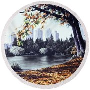 Vancouver Fall Round Beach Towel