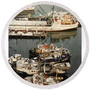 Round Beach Towel featuring the photograph Vancouver Harbor Fishin Fleet by Jack Pumphrey