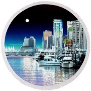 Vancouver Harbor Moonrise  Round Beach Towel