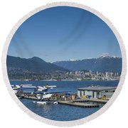 Round Beach Towel featuring the photograph Vancouver Harbour Flight Centre by Ross G Strachan