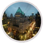 Vancouver Nocturne Round Beach Towel