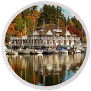 Vancouver Rowing Club In Autumn Round Beach Towel