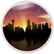 Vancouver Skyline Sunset Cabcva22 Round Beach Towel