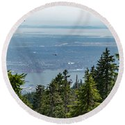 Round Beach Towel featuring the photograph Vancouver Through The Trees by Ross G Strachan