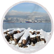 Vancouver Winter Round Beach Towel