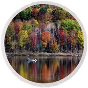 Vanishing Autumn Reflection Landscape Round Beach Towel