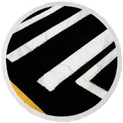 Round Beach Towel featuring the photograph Vanishing Traffic Lines With Colorful Edge by Gary Slawsky