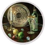 Vanitas Still Life By Candlelight With Les Bourgeois Wine Round Beach Towel