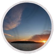 Round Beach Towel featuring the photograph Variations Of Sunsets At Gulf Of Bothnia 2 by Jouko Lehto