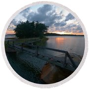 Round Beach Towel featuring the photograph Variations Of Sunsets At Gulf Of Bothnia 6 by Jouko Lehto