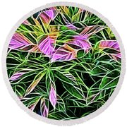 Variegated Leaves Pink And Green Round Beach Towel