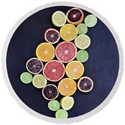 Round Beach Towel featuring the photograph Variety Of Citrus Fruits by Stephanie Frey