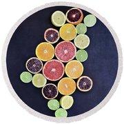 Variety Of Citrus Fruits Round Beach Towel