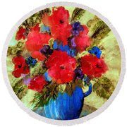 Vase Of Delight-still Life Painting By V.kelly Round Beach Towel
