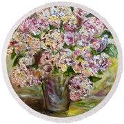 Vase Of Flowers Round Beach Towel