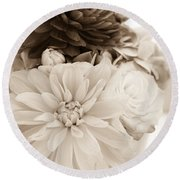 Vase Of Flowers In Sepia Round Beach Towel