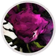 Vase Of Roses With Shadows 2 Round Beach Towel