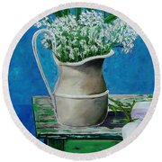 Vase On Table With Flowers Round Beach Towel