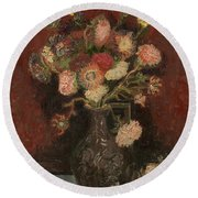 Vase With Chinese Asters And Gladioli Round Beach Towel