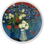 Vase With Cornflowers And Poppies Round Beach Towel by Vincent Van Gogh