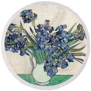 Round Beach Towel featuring the painting Vase With Irises by Van Gogh