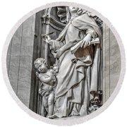 Vatican Statue Round Beach Towel