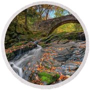 Round Beach Towel featuring the photograph Vaughan Brook And Arch Bridge by Rick Berk