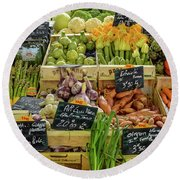 Veg At Marche Provencal Round Beach Towel