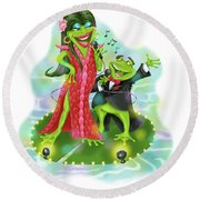 Vegas Frogs Lounge Act Round Beach Towel