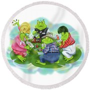 Vegas Frogs Playing Poker Round Beach Towel