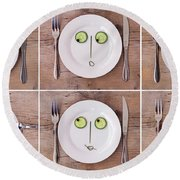 Vegetable Faces Round Beach Towel