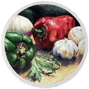 Vegetable Golly Wow Round Beach Towel