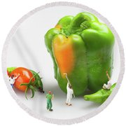 Vegetable Painting Little People On Food Round Beach Towel by Paul Ge