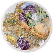Vegetables In A Basket Round Beach Towel by Joan Thewsey