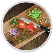 Vegetables On A Cutting Board  Round Beach Towel