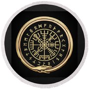 Vegvisir - A Magic Icelandic Viking Runic Compass - Gold On Black Round Beach Towel
