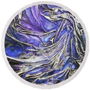 Round Beach Towel featuring the mixed media Veiled Figure by Angela Stout