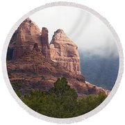 Round Beach Towel featuring the photograph Veiled In Clouds by Phyllis Denton
