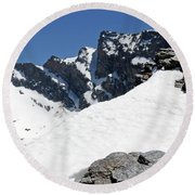Round Beach Towel featuring the photograph Veleta Snow by Phil Banks