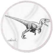 Velociraptor - Dinosaur Black And White Ink Drawing Round Beach Towel