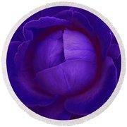 Velvet Blue Lettuce Rose Round Beach Towel