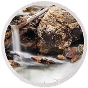 Velvet Falls - Rocky Mountain Stream Round Beach Towel