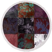 Velvet Patch Asian Red Round Beach Towel