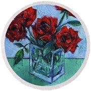 Velvet Roses - Impasto Palette Knife Oil Painting Round Beach Towel