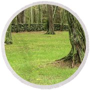 Venerable Trees And A Stone Wall Round Beach Towel