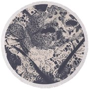 Venetian Ball Room Mask Next To Wilted Flowers Round Beach Towel