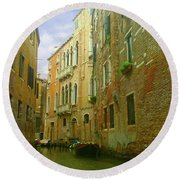 Round Beach Towel featuring the photograph Venetian Canyon by Anne Kotan