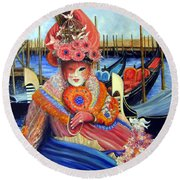 Venetian Carneval Mask With Bird Cage Round Beach Towel