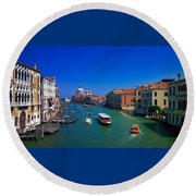 Round Beach Towel featuring the photograph Venetian Highway by Anne Kotan